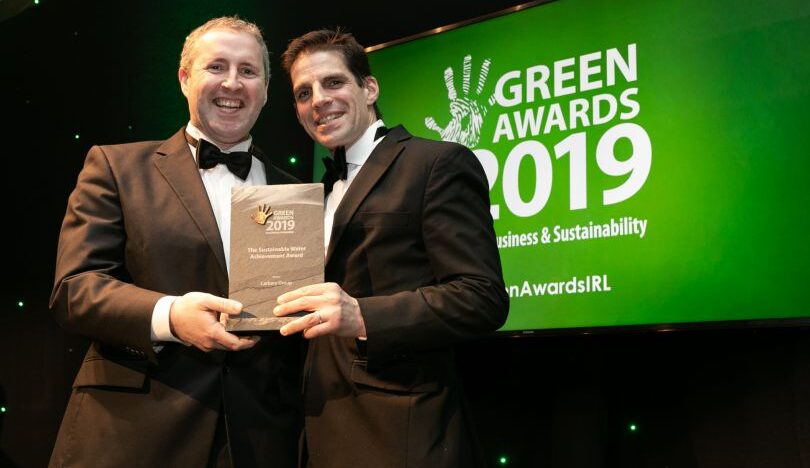 Enda Buckley (right) receiving the Sustainable Water Achievement Award from Frank Mutel at the Green Awards 2019
